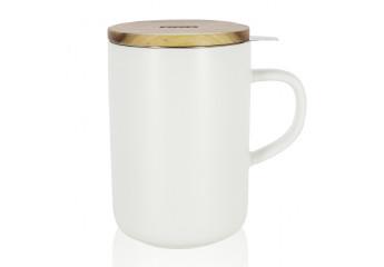 White mug with filter 16 oz