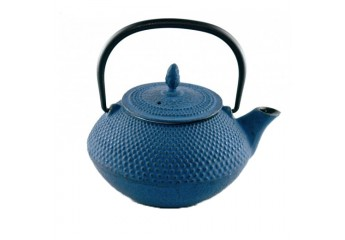 Blue cast iron teapot 0.4L