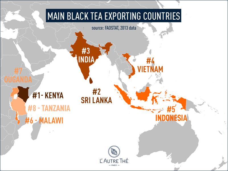 Main black tea exporting countries