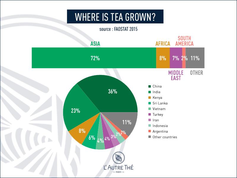 Where is tea grown nowadays?