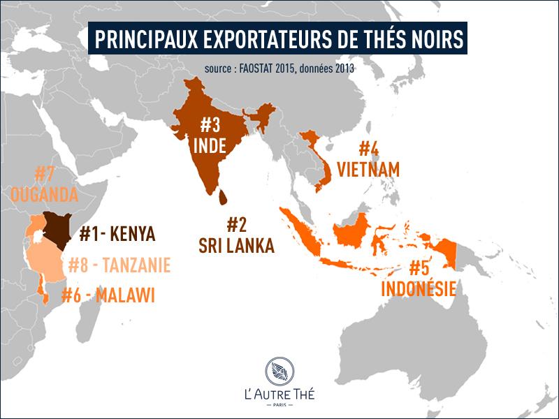 Principaux pays exportateurs de thés noirs