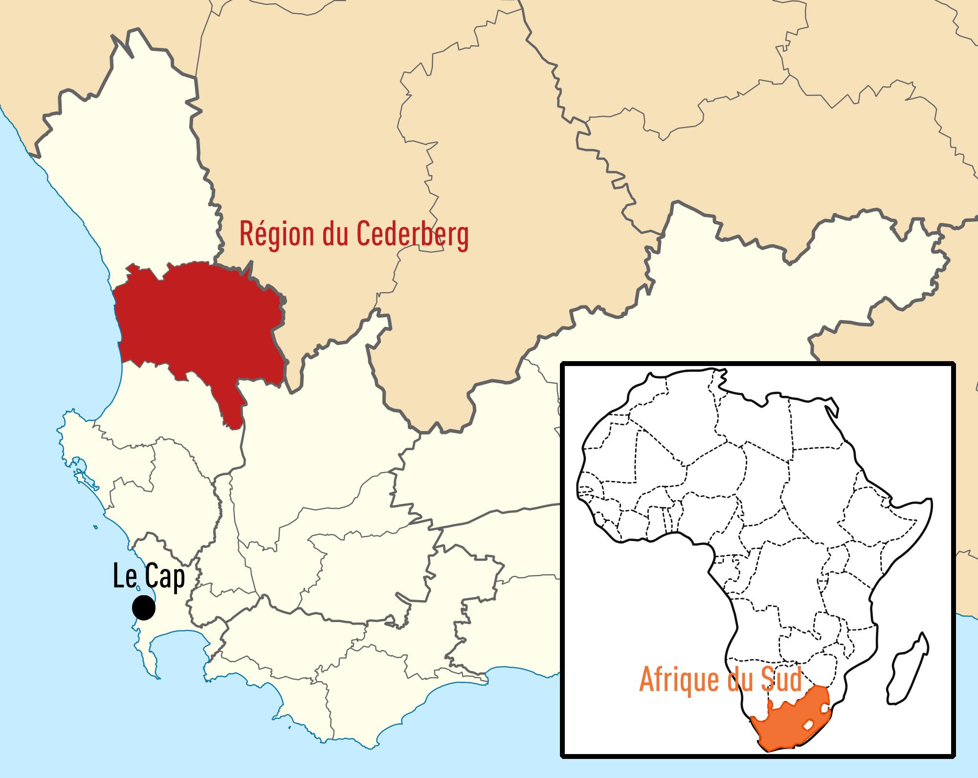 Localisation du Cederberg en Afrique du Sud