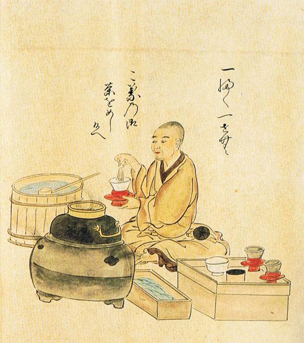 Moine servant du matcha (on voit le fouet en bambou « chasen » dans sa main droite) Illustration tirée de Shichiju-ichiban shokunin utaawase, période Muromachi (XIVe-XVIe siècle).