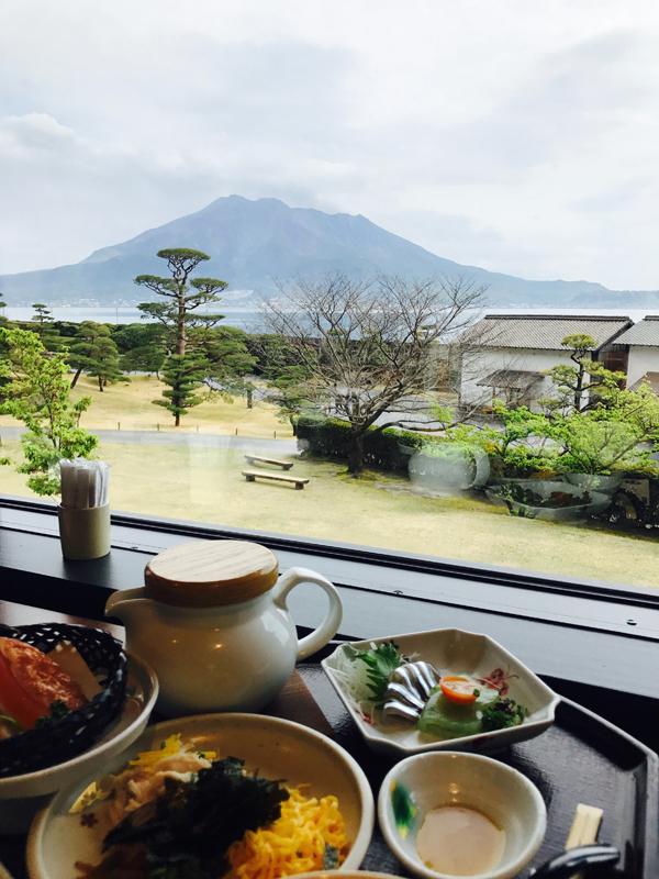 Repas à Kagoshima avec vue